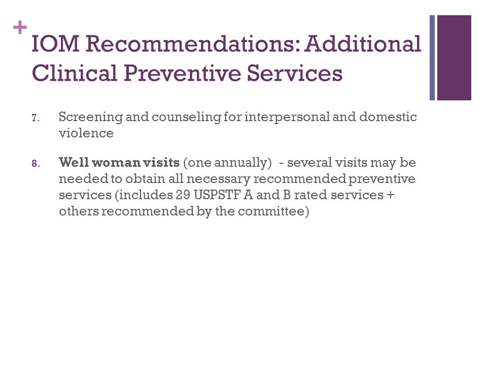 IOM Recommendations: Additional Clinical Preventive Services