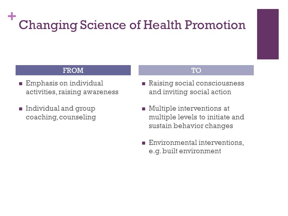 Changing Science of Health Promotion