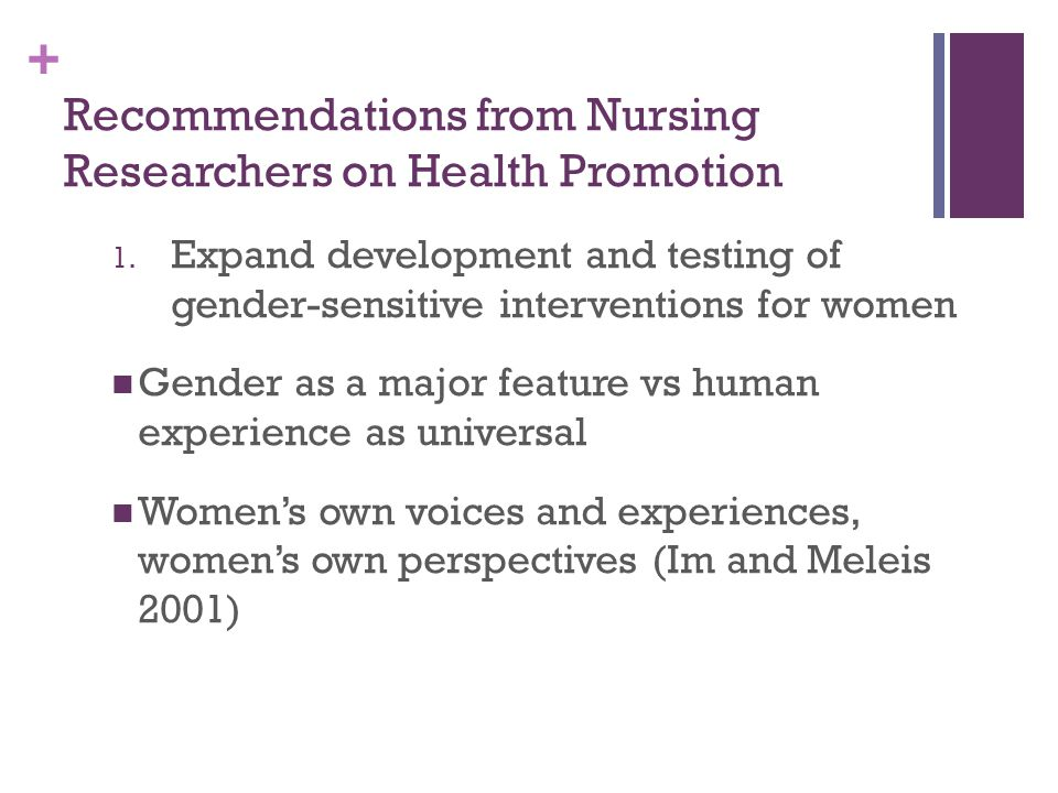 Recommendations from Nursing Researchers on Health Promotion