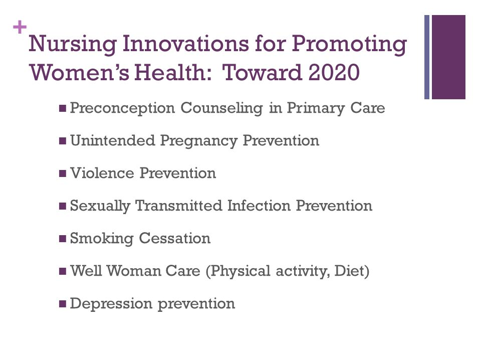 Nursing Innovations for Promoting Women's Health: Toward 2020