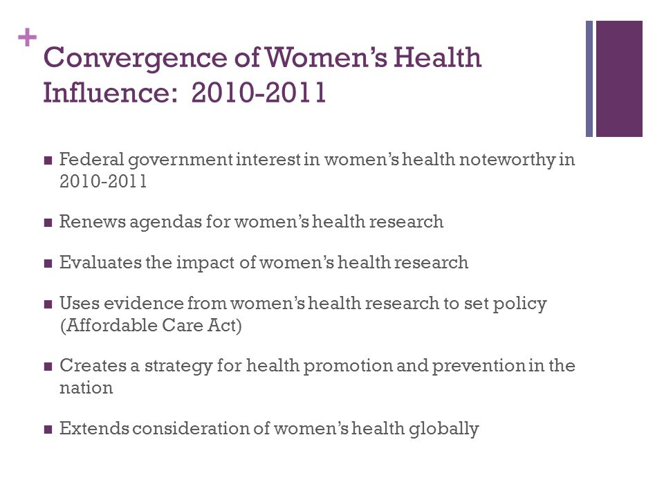 Convergence of Women's Health Influence: 2010-2011