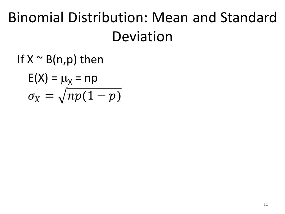 Binomial Distribution: Mean and Standard Deviation