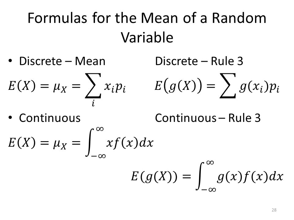 Formulas for the Mean of a Random Variable