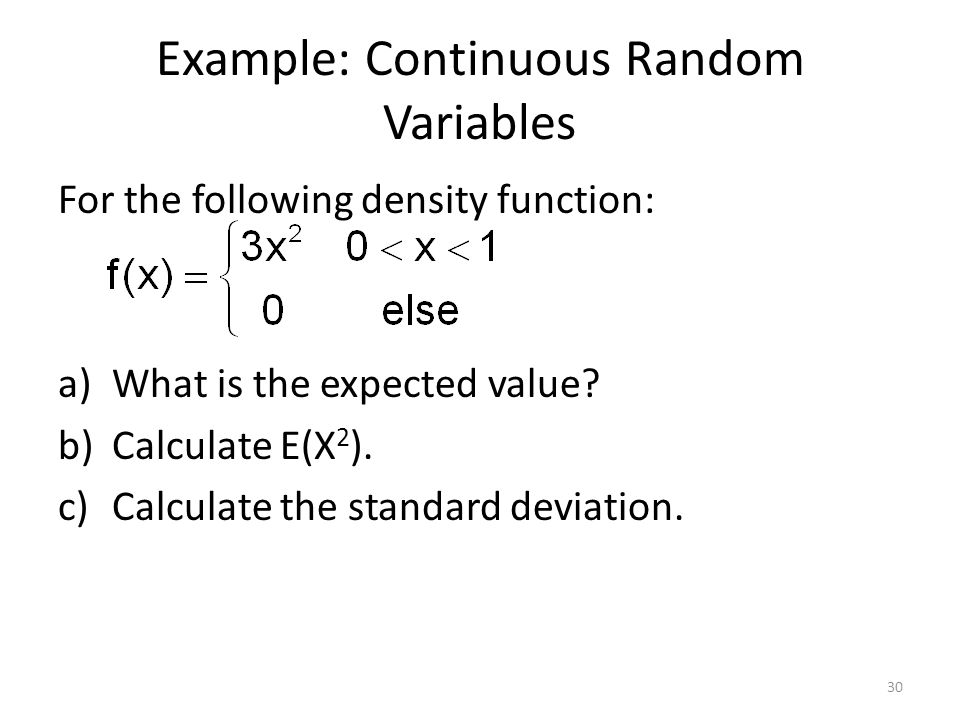 Example: Continuous Random Variables