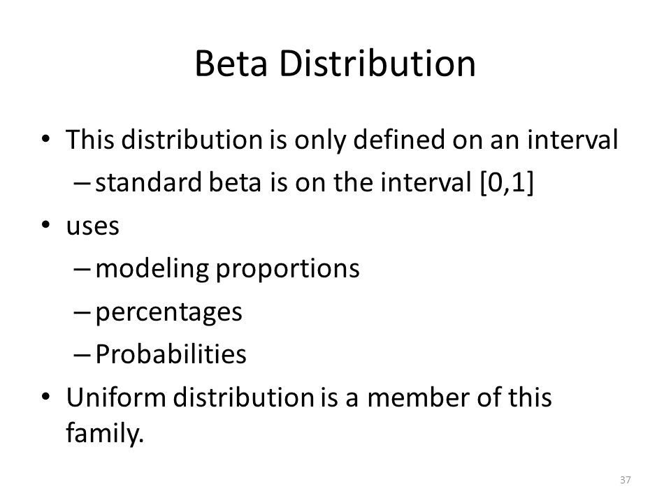 Beta Distribution This distribution is only defined on an interval