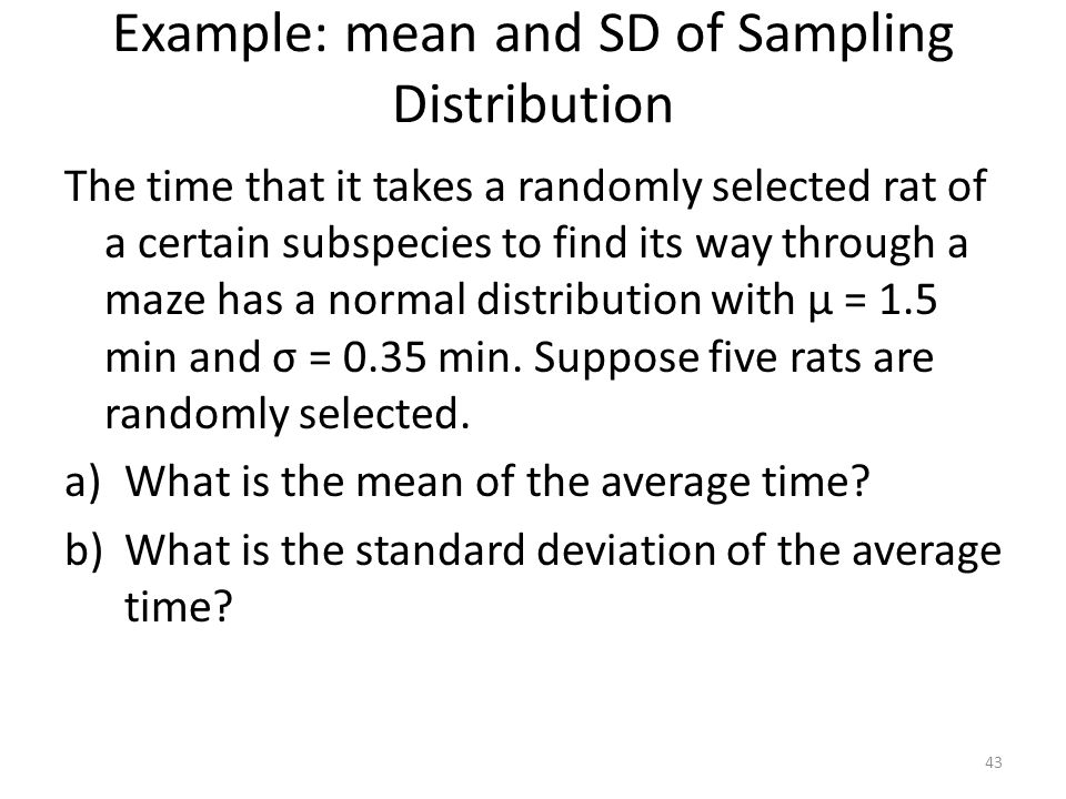 Example: mean and SD of Sampling Distribution