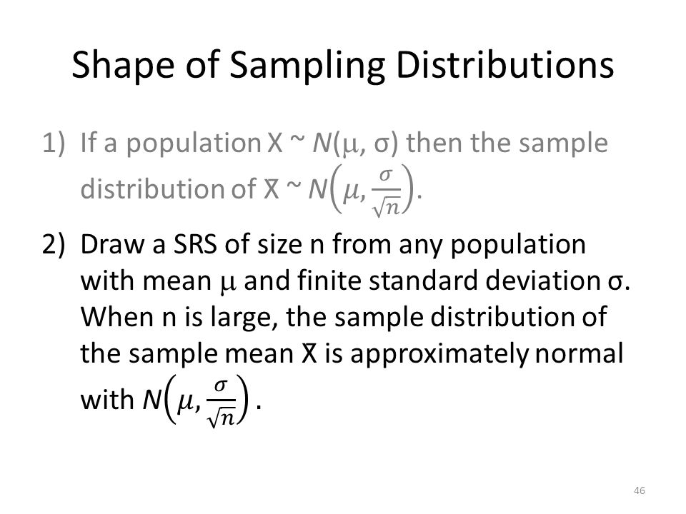 Shape of Sampling Distributions