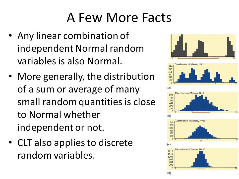 A Few More Facts Any linear combination of independent Normal random variables is also Normal.