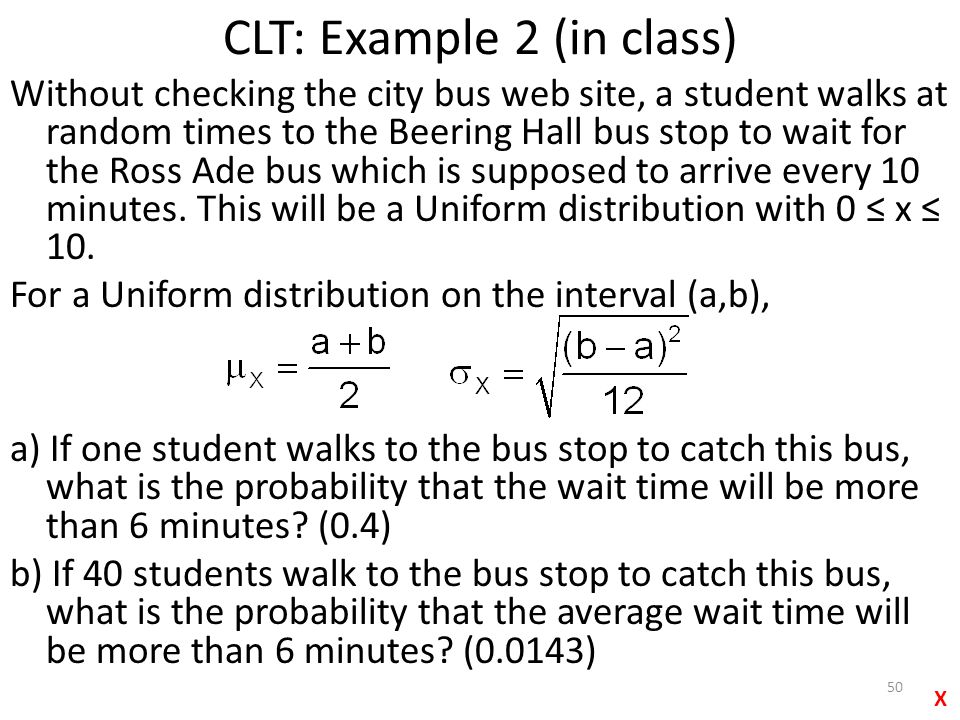 CLT: Example 2 (in class)