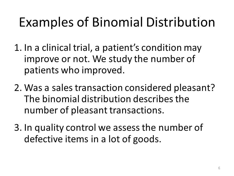 Examples of Binomial Distribution