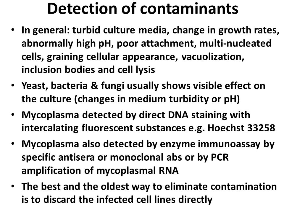 Detection of contaminants