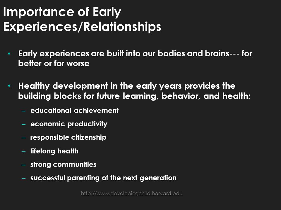 Importance of Early Experiences/Relationships