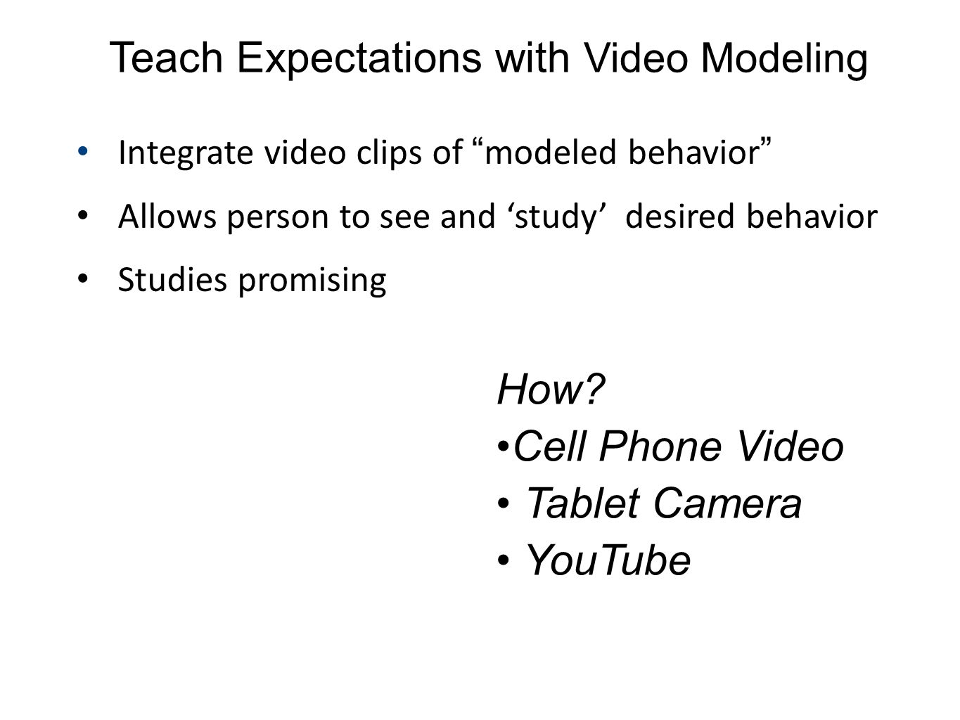 Teach Expectations with Video Modeling