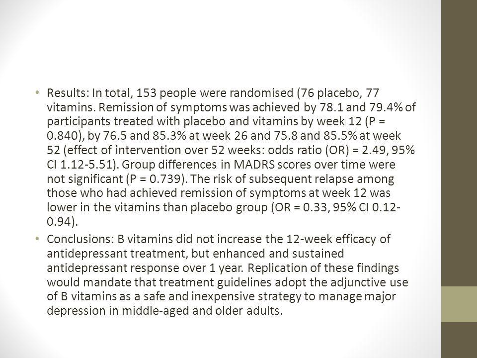 Results: In total, 153 people were randomised (76 placebo, 77 vitamins