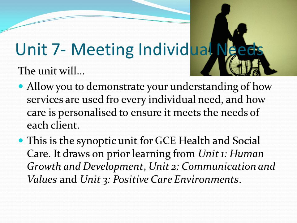 Unit 7- Meeting Individual Needs