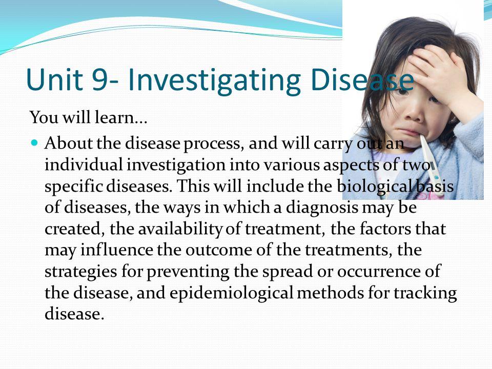 Unit 9- Investigating Disease
