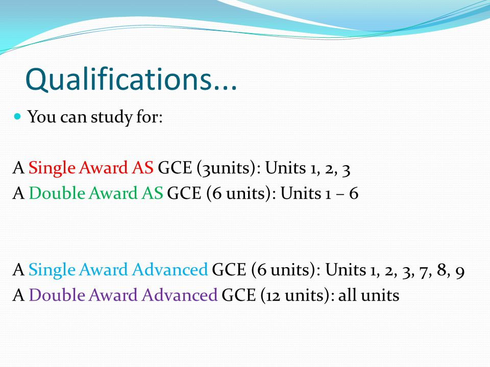 Qualifications... You can study for: