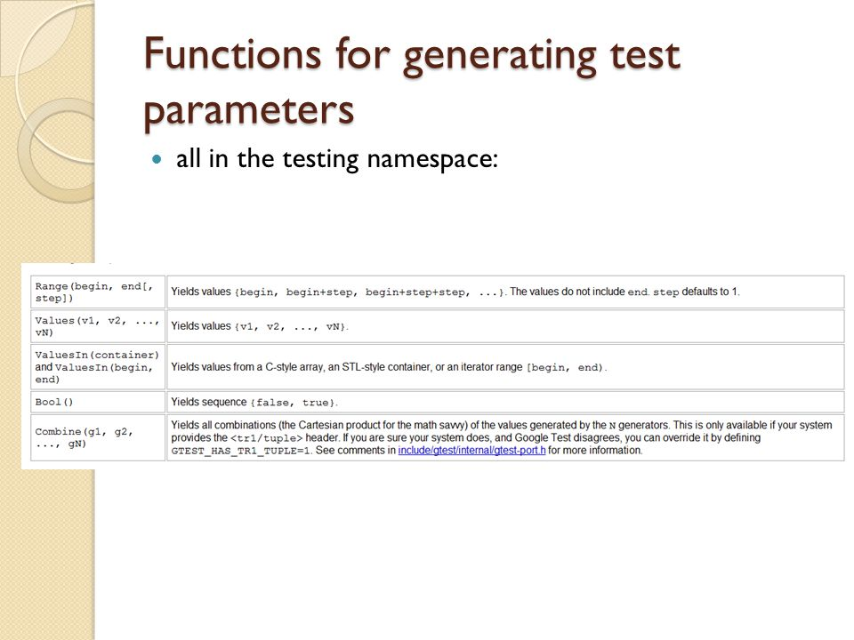 Functions for generating test parameters