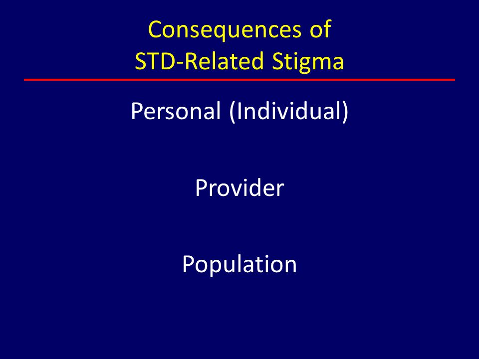 Consequences of STD-Related Stigma