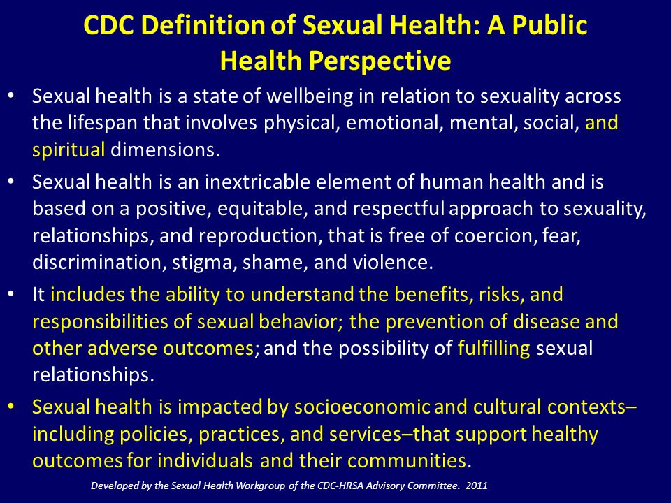 CDC Definition of Sexual Health: A Public Health Perspective