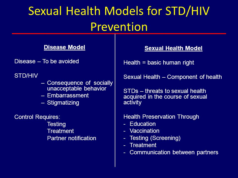 Sexual Health Models for STD/HIV Prevention