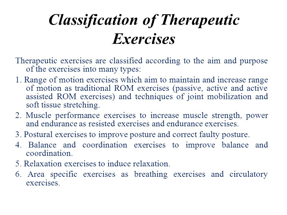 Classification of Therapeutic Exercises