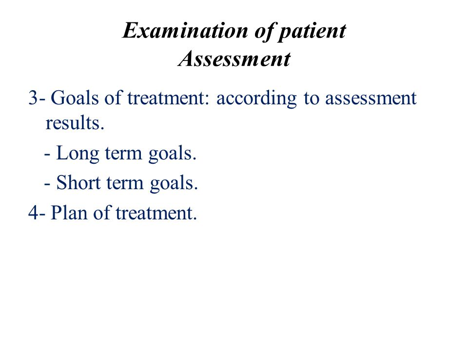 Examination of patient Assessment