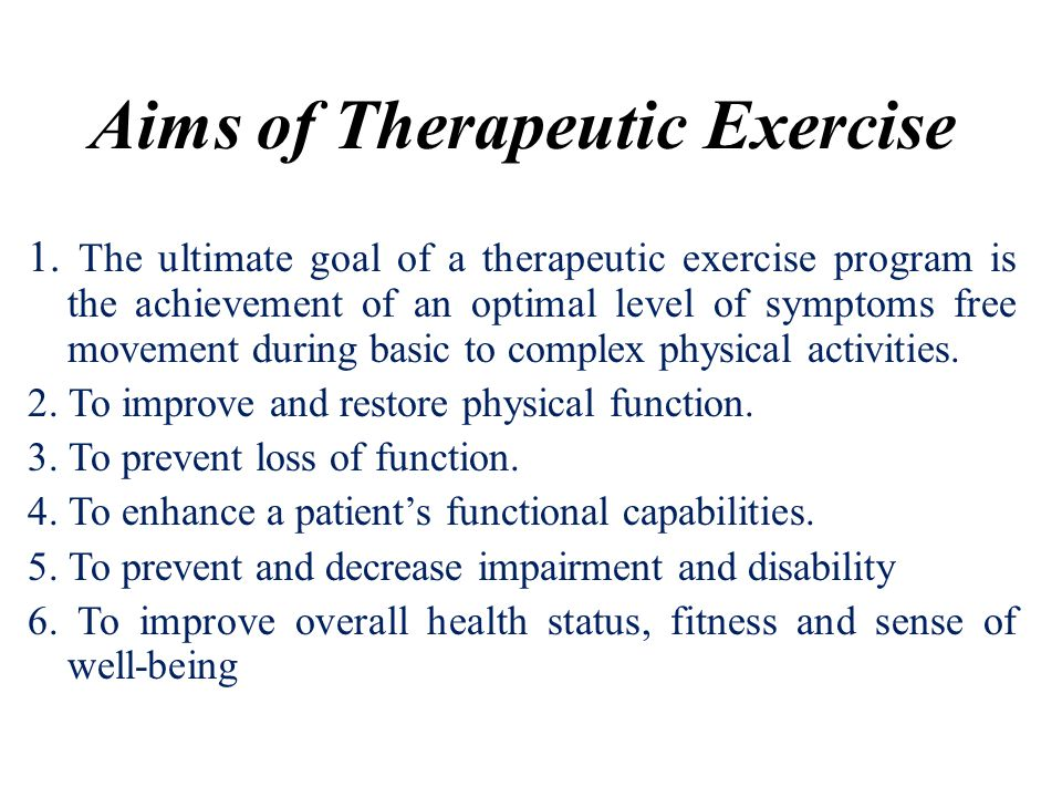 Aims of Therapeutic Exercise