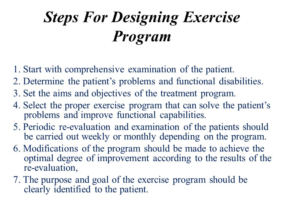 Steps For Designing Exercise Program