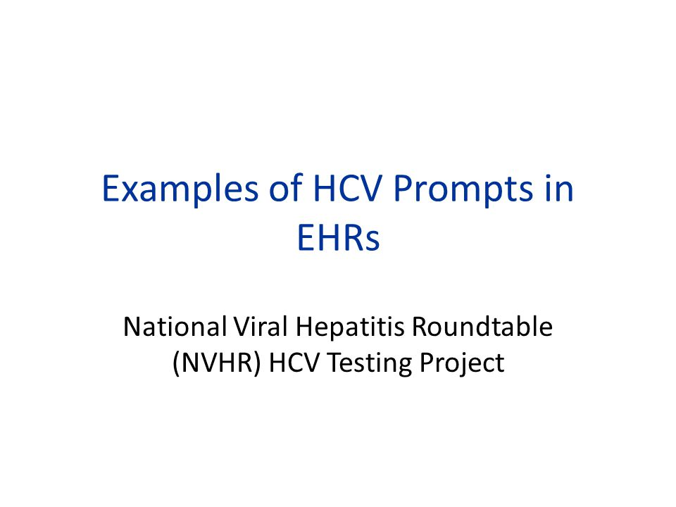 Examples of HCV Prompts in EHRs