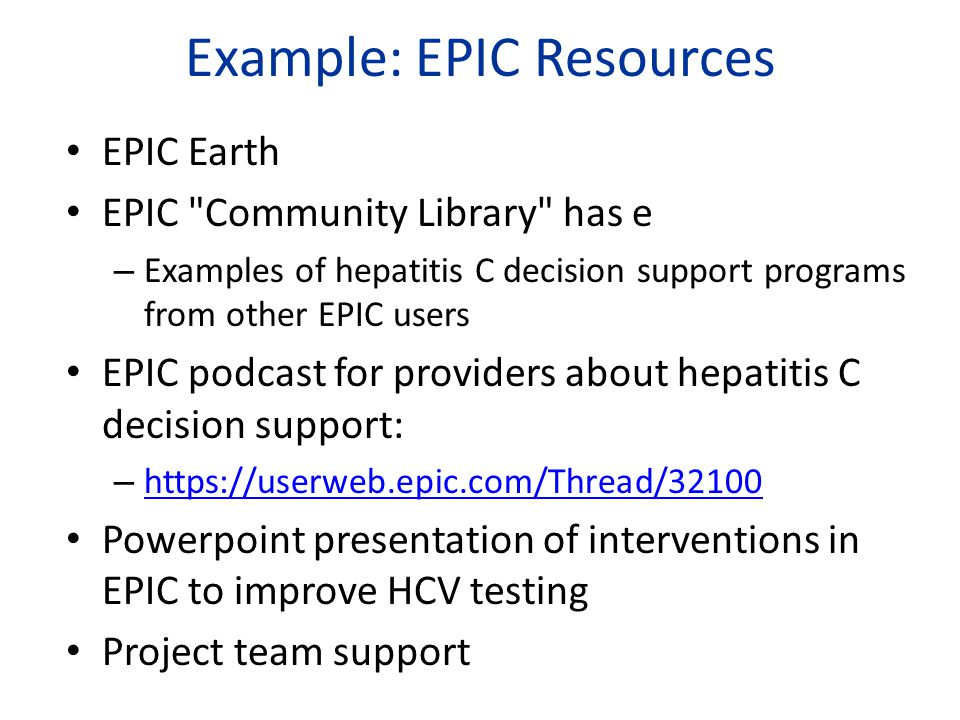 Example: EPIC Resources