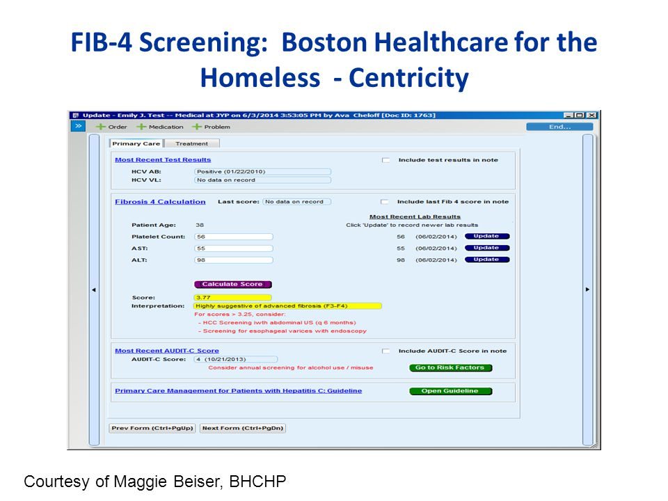 FIB-4 Screening: Boston Healthcare for the Homeless - Centricity