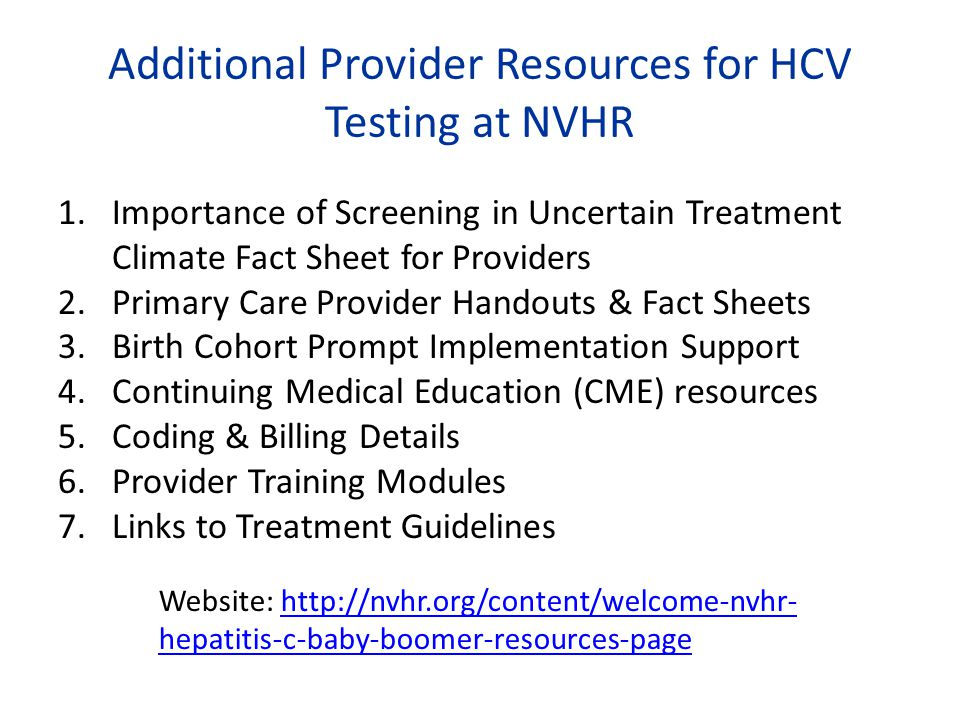 Additional Provider Resources for HCV Testing at NVHR