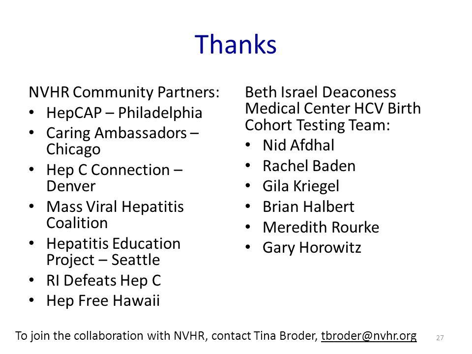 Thanks NVHR Community Partners: HepCAP – Philadelphia