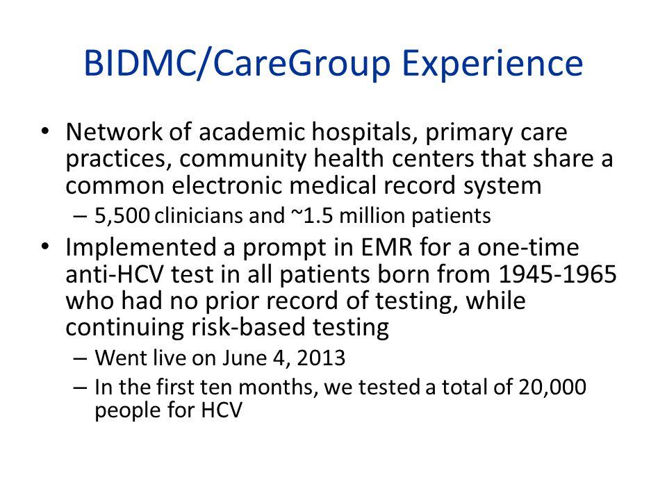 BIDMC/CareGroup Experience