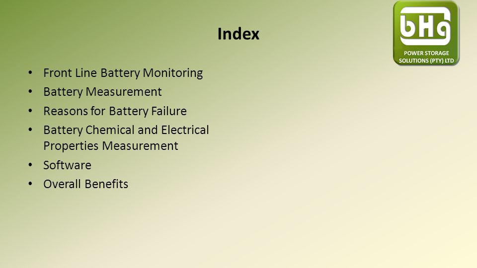 Index Front Line Battery Monitoring Battery Measurement