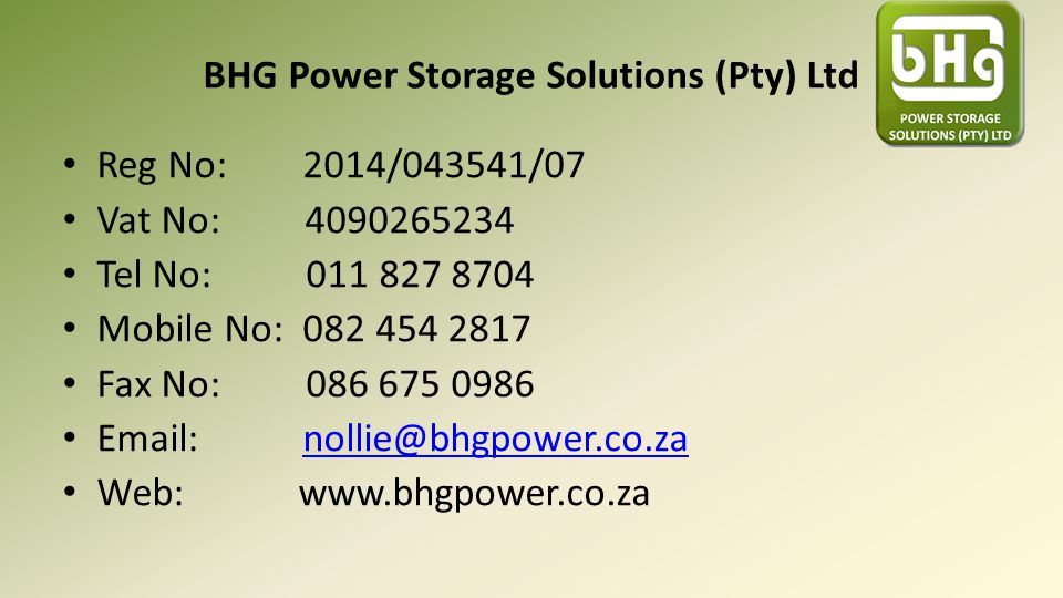 BHG Power Storage Solutions (Pty) Ltd