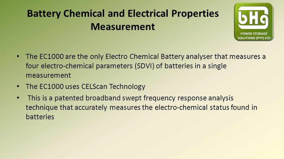 Battery Chemical and Electrical Properties Measurement