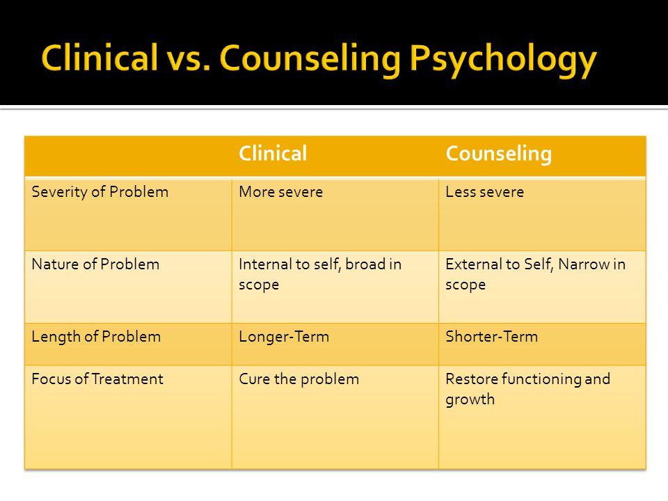 Clinical vs. Counseling Psychology