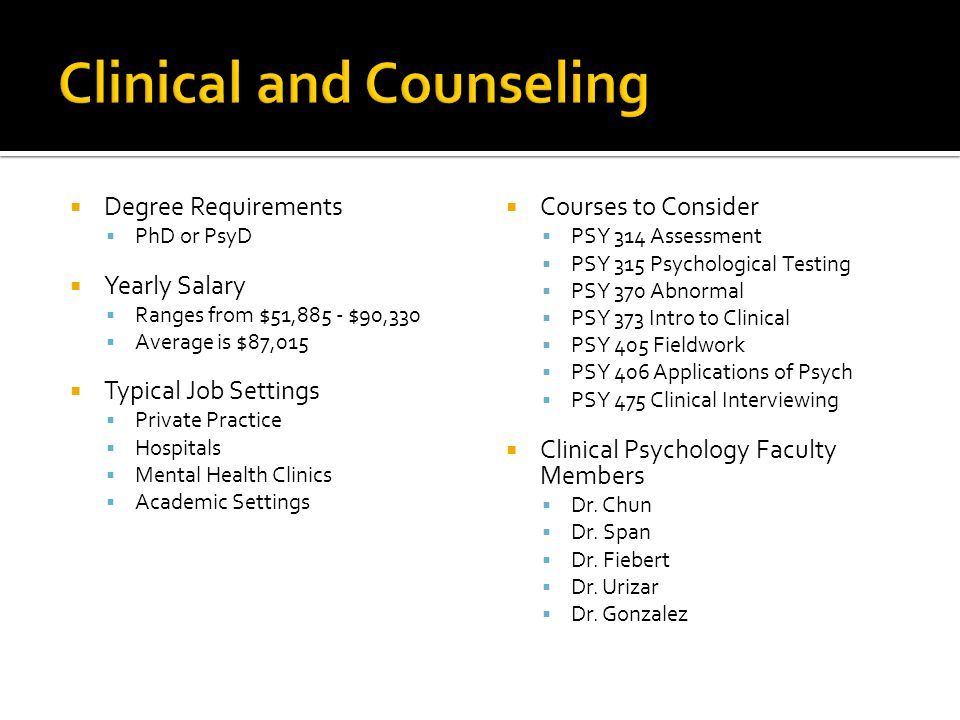 Clinical and Counseling