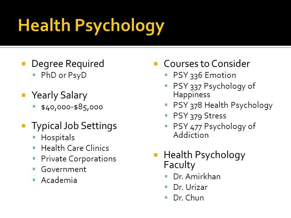 Health Psychology Degree Required Yearly Salary Typical Job Settings
