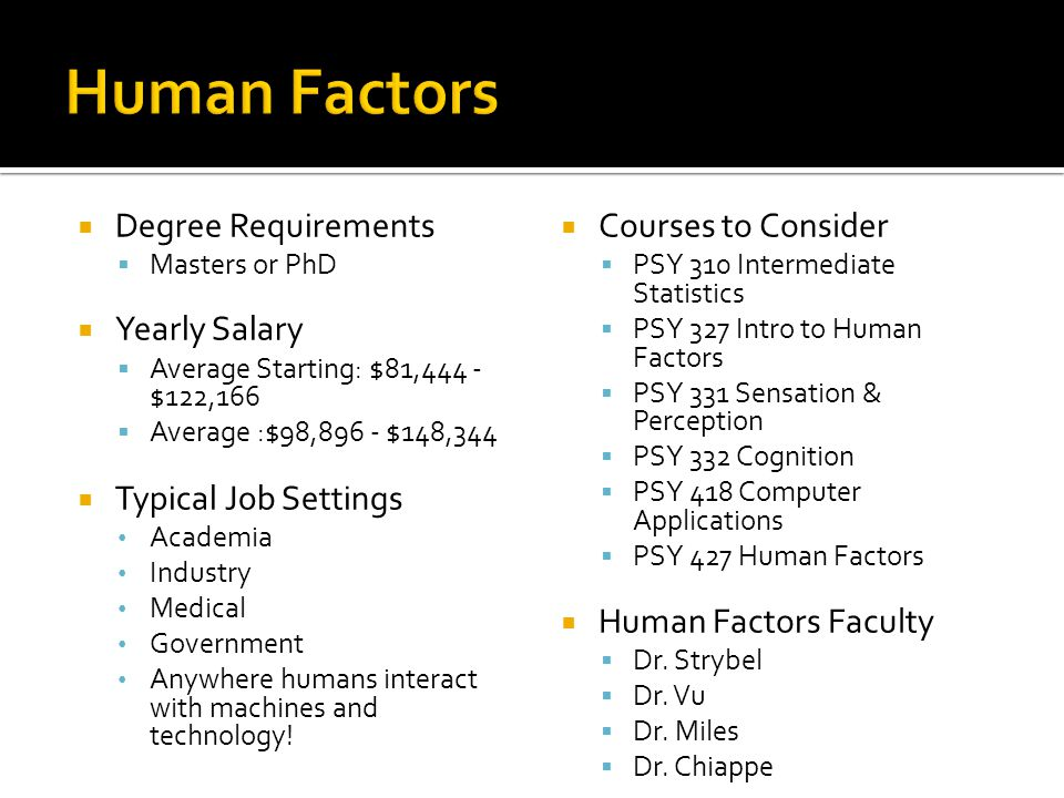 Human Factors Degree Requirements Yearly Salary Typical Job Settings
