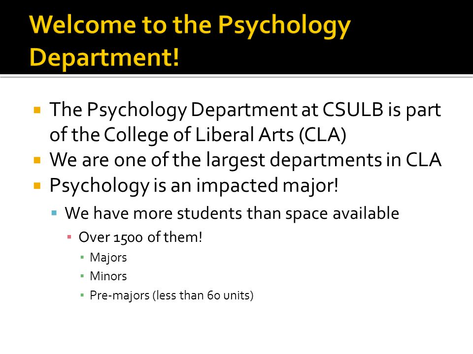 Welcome to the Psychology Department!