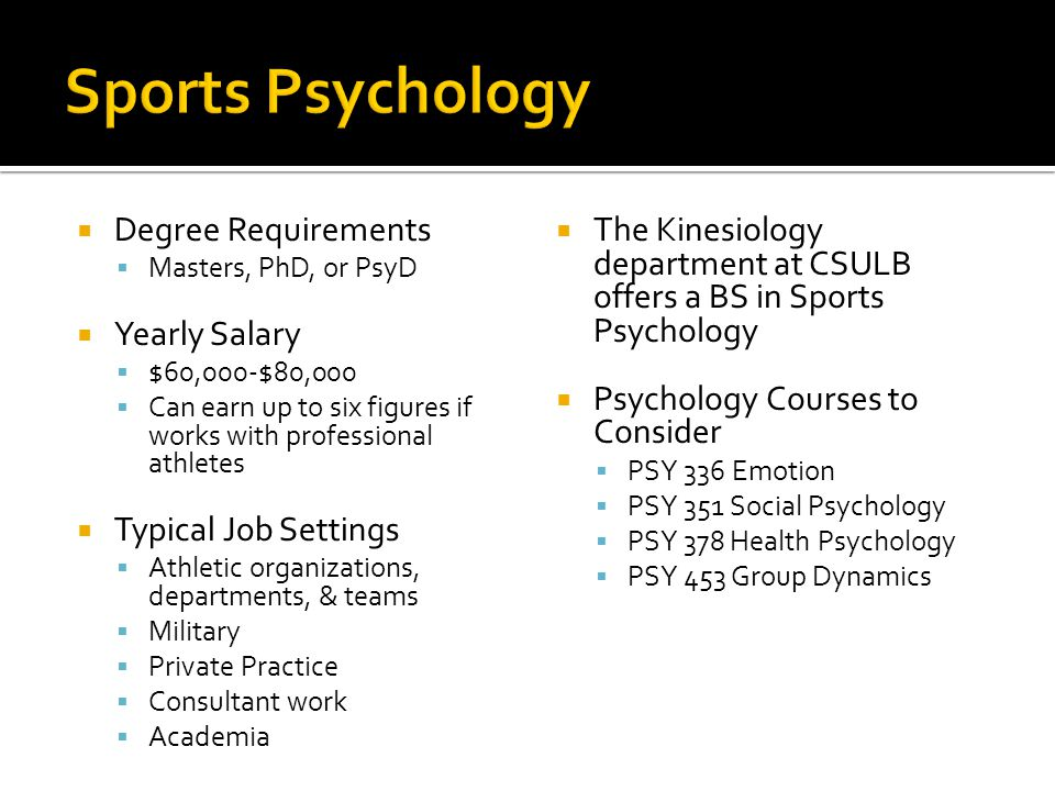 Sports Psychology Degree Requirements Yearly Salary