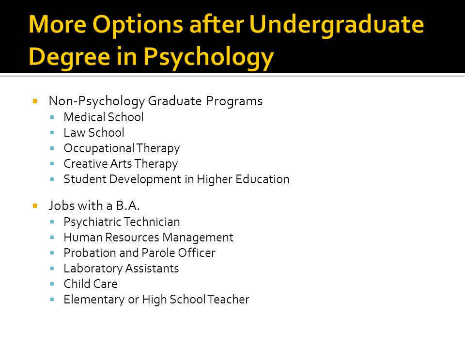 More Options after Undergraduate Degree in Psychology