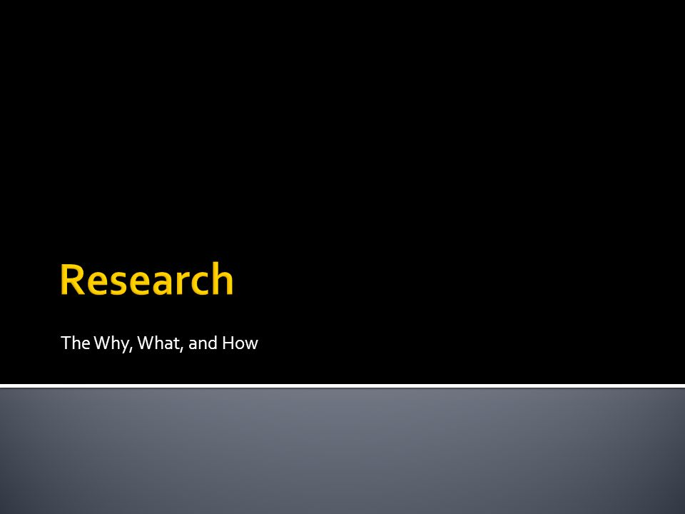 The Why, What, and How Research