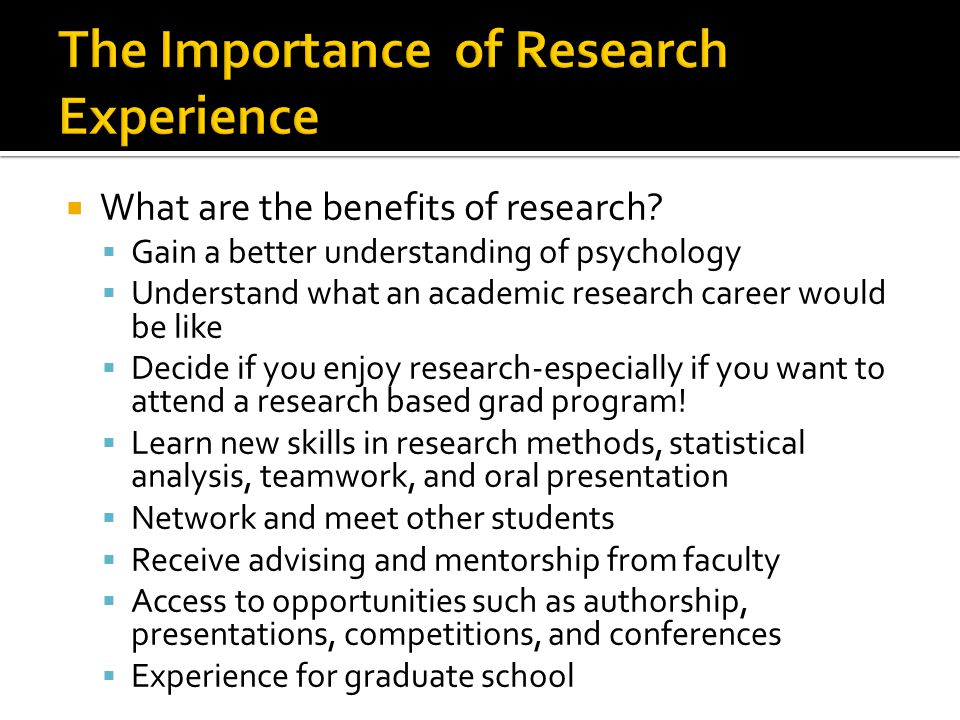 The Importance of Research Experience