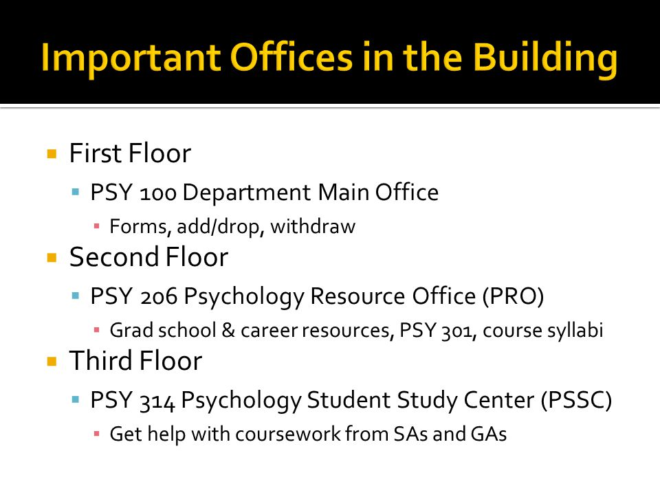 Important Offices in the Building