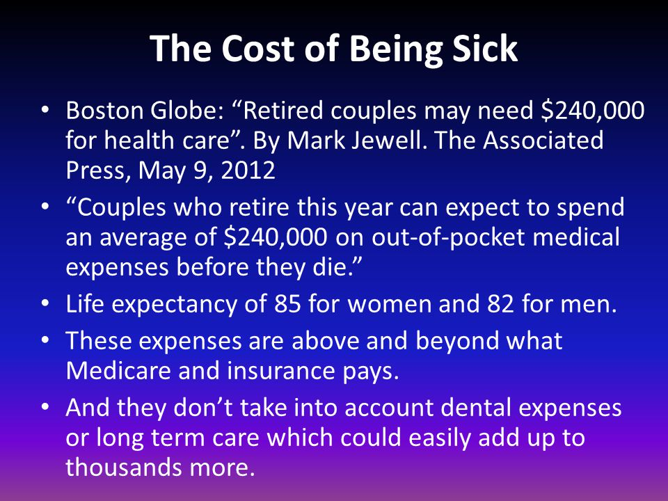 The Cost of Being Sick Boston Globe: Retired couples may need $240,000 for health care . By Mark Jewell. The Associated Press, May 9, 2012.