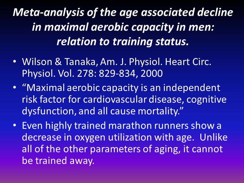 Meta-analysis of the age associated decline in maximal aerobic capacity in men: relation to training status.